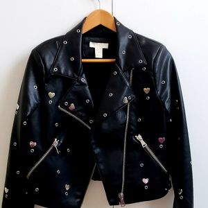 H&M JACKET IN BLACK WITH A UNIQUE PATTERN